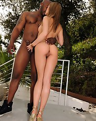 Pretty euro babe stuffed by big black cock in outdoor fuck